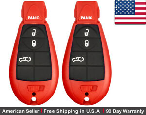 2x New Replacement Keyless Remote Control Key Fob For Chrysler And Dodge Red