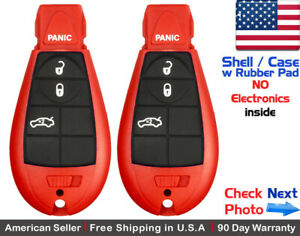 2x New Replacement Keyless Remote Case For Chrysler Dodge Red Shell Only