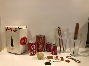 Lot of 1 Items Coke Coca Cola Cans, Glasses, Ice Pick, S&P Shakers, NapkinHolder