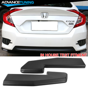 Universal Fitment Rear Bumper Lip V1 Style 2pc Set Pp Sanded Black With 8 Screws