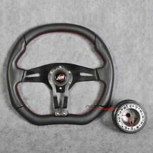350mm Racing Steering Wheel Black Pvc Spoke Red Stitch Hub Adapter Jdm Horn