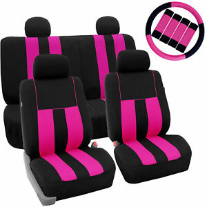 Full Car Seat Covers For Auto Pink Black W 4 Headrests Steering Belt Pads