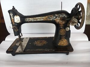 Vintage Sphinx Singer Treadle Sewing Machine Gold Ornate Graphics For Parts