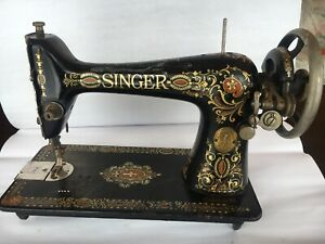 Antique 1921 Singer Treadle Sewing Machine Head Red Eye For Parts Or Repair