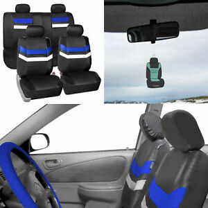 Blue Pu Leather Seat Covers Universal Fit Full Set For Auto Car Suv W Gift