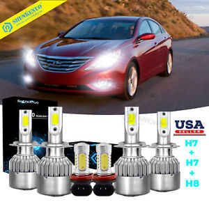 For Hyundai Sonata 2011 2014 Led 6x Bulbs H7 Headlight Hi lo H11 Fog Ligh 6000k
