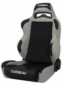 Corbeau Lg1 Racing Seat Black Grey Microsuede Reclining Driver Side Old Stitch