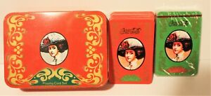 Vintage Coca Cola Playing Cards Two Decks In Matching Tin Box Collectible