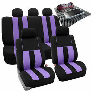 Full Set Car Seat Covers For Auto Suv Van Purple Black W Dash Pad