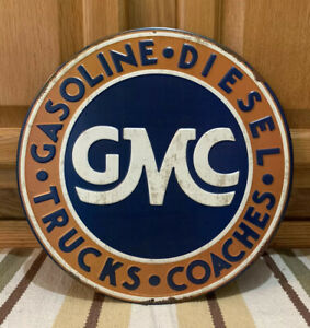 Gmc Metal Gasoline Diesel Trucks Oil Parts Tire Garage Auto Car Gas Wall Decor