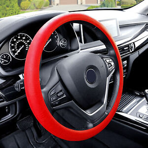 Silicone Steering Wheel Cover Python Snake Skin Design Red For Auto
