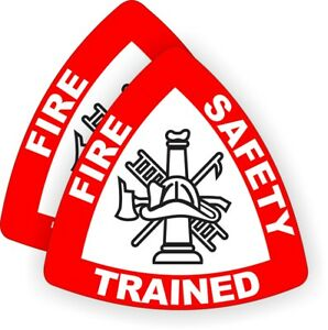 2 Fire Safety Trained Helmet Stickers Decals Firefighter Rescue Paramedic