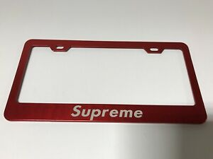 Supreme Red Stainless Steel License Plate Frame Rust Free Laser Engraved