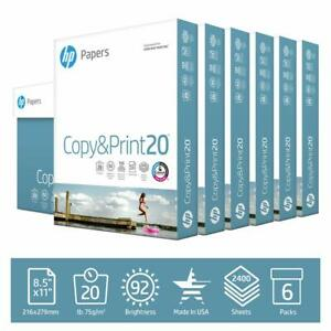 Hp Printer Paper Copy print 20lb 8 5 X11 6 Pack Case 2 400 Sheet