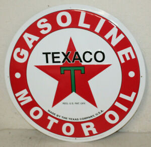 2 Large Vintage Style 24 Texaco Gas Station Signs Man Cave Garage Decor Oil Can
