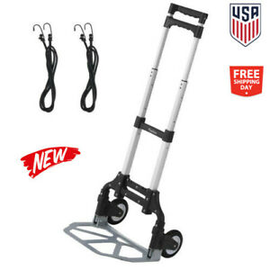 Foldable Cart Moving Dolly Sack Collapsible Trolley Push Hand Truck Stair Climbe