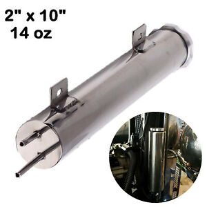 2 X 10 Polished Stainless Steel 14 Oz Radiator Overflow Tank Bottle Catch Can