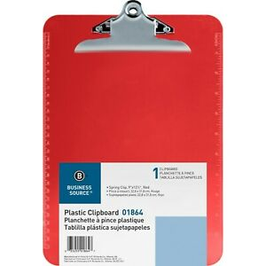 Business Source Spring Clip Plastic Clipboard Red 1 Each bsn01864