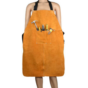 Leather Welding Bib Shop Apron Heat Resistant Blacksmith Mechanic Smock 90 60cm