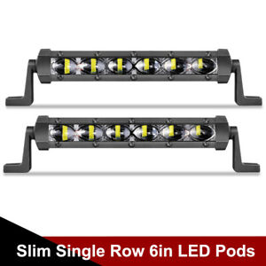 Pair Ultra Slim 6inch Cree Led Light Bar Single Row Spot Offroad Driving Atv Utv