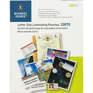 100 Letter Crystal Clear Laminating Pouches 9 X11 5 3 Mil 20870 Business Source