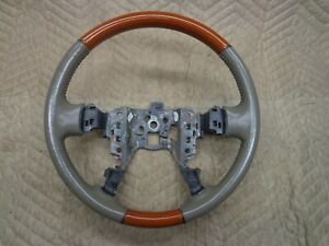 00 05 Cadillac Deville Seville Leather And Wood Wrap Steering Wheel 01 02 03 04