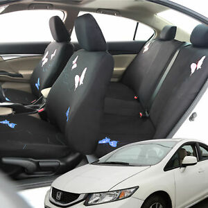 Car Seat Covers Pink Blue Butterfly Full Set For Auto W 2 Headrest Covers