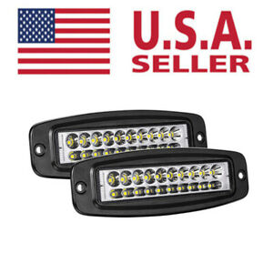 2x 144w 6inch Flush Mount Cree Led Work Light Bar Bumper Rear Pods Driving Light