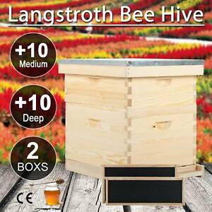 Complete Langstroth Bee Hive Kits 10 frame 1 Medium 1 Deep Box Queen Excluder