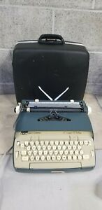 Smith Corona Coronet Electric Typewriter Steel Blue Works Great W case