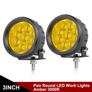 Round Led Work Lights Bar 2x 4 Inch Spot Flood Driving Pods Offroad Combo Truck