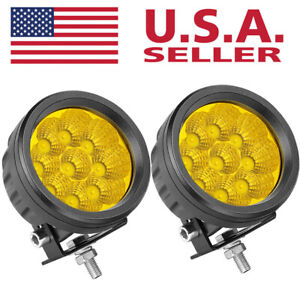 Round Led Work Lights Bar 2x 4 Inch Spot Flood Driving Pods Offroad Truck 4x4wd