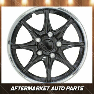 15 Black And Chrome Universal Fit Hub Cap Snap On Wheel Covers