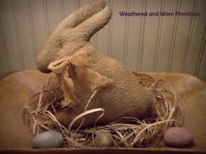 Primitive Grungy Aged Fabric Easter Bunny Rabbit Aged Cheesecloth Bow 9 H X 10