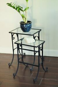 2 Vintage Wrought Iron Glass Nesting Tables Scroll Iron Glass Pair Patio Tables