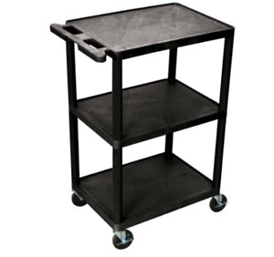 Utility Cart 3 Shelf Black Heavy Duty Rolling Multipurpose Plastic Storage 300lb