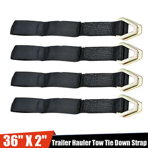 36 Long 2 Width Axle Race Car Hauler Tow Truck Wrecker Wheel Tie Down Strap X4