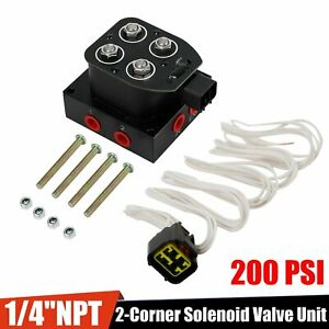 1 4 Npt 2 Corner Solenoid Valve Unit Vu2 Manifold Fit Air Bag Suspension System