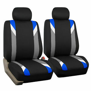 Front Car Seat Covers Blue Black Set For Auto Head Rests Two Bucket Seat Covers