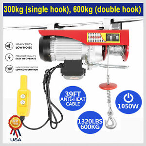 1320 Lbs Electric Hoist Winch Lifting Engine Crane Cable Overhead Lift W Remote