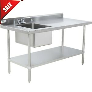 30 X 60 Stainless Steel Work Table With Left Sink Backsplash And Undershelf