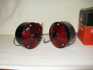 2 New Vintage Metal Body Signal Stat Turn Signal Stop Tail Light Lamp Cyclostat