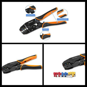Ratcheting Wire Crimper Plier Crimping Tool For Insulated Electrical Connectors