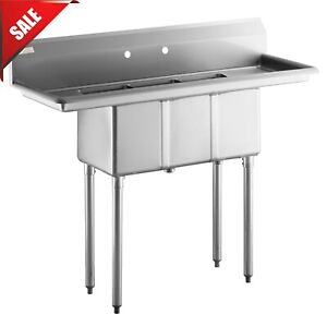3 Compartment Stainless Steel Commercial Kitchen Nsf Sink With 2 Drainboards 50