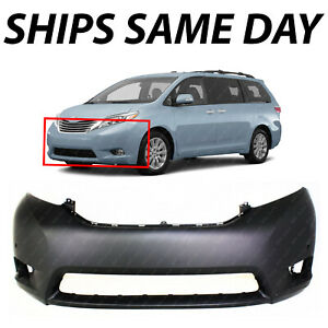 New Primered Front Bumper Cover For 2011 2017 Toyota Sienna Limited W Park Fog