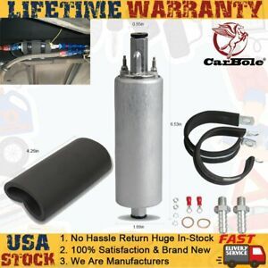 Universal Electric Inline External Fuel Pump 255lph Gsl392 With Installation Kit