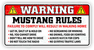 Mustang Rules Warning Sticker Funny Safety Instructions Label Decal Ford Gt