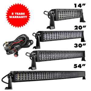 14 20 30 54 Led Work Light Bar Combo Offroad Driving 4 rows Straight curved