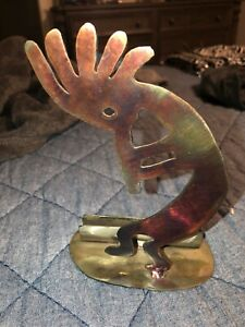 Kokopelli Metal Art Business Card Holder Desk Decor Signed By The Artist