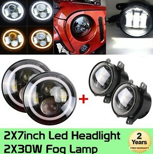 7 40w Led Halo Headlights 4 30w Led Fog Lights For 07 17 Jeep Wrangler Jk